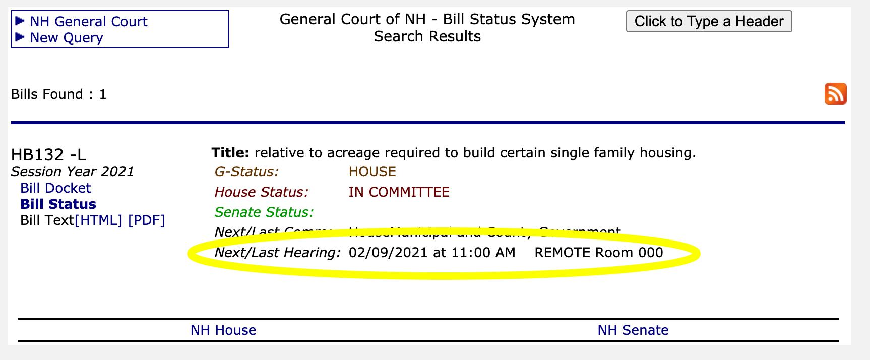 NH Gencourt Bill Status